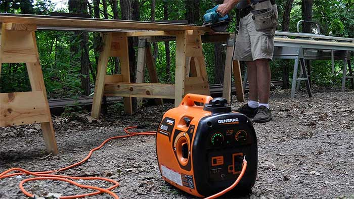 Generac gas powered generator in the woods