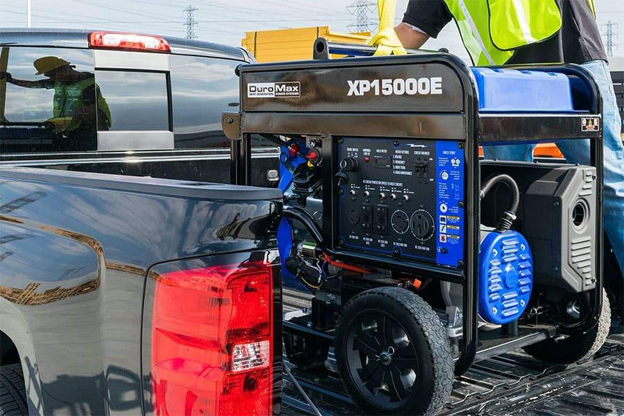 xp15000e generator in a pick up trunk
