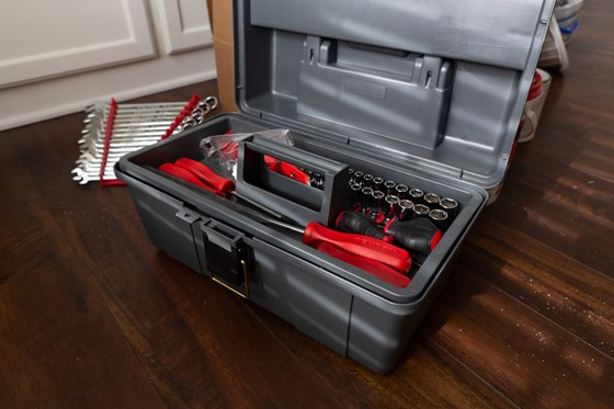 complete set of tools inside a toolbox