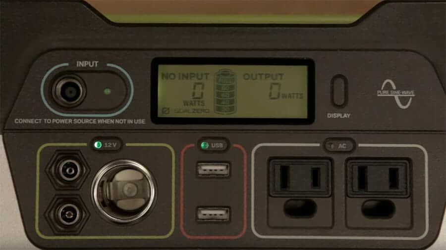 Goal zero yeti 400 control panel with usb ports