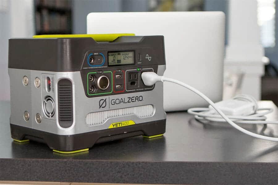 Yeti 400w solar generator on a table